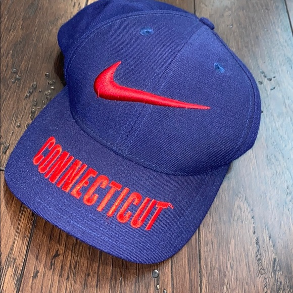 Vintage 90s Nike Large Centered Swoosh UConn Hat